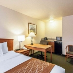 Hotel room with large bed and kitchenette area